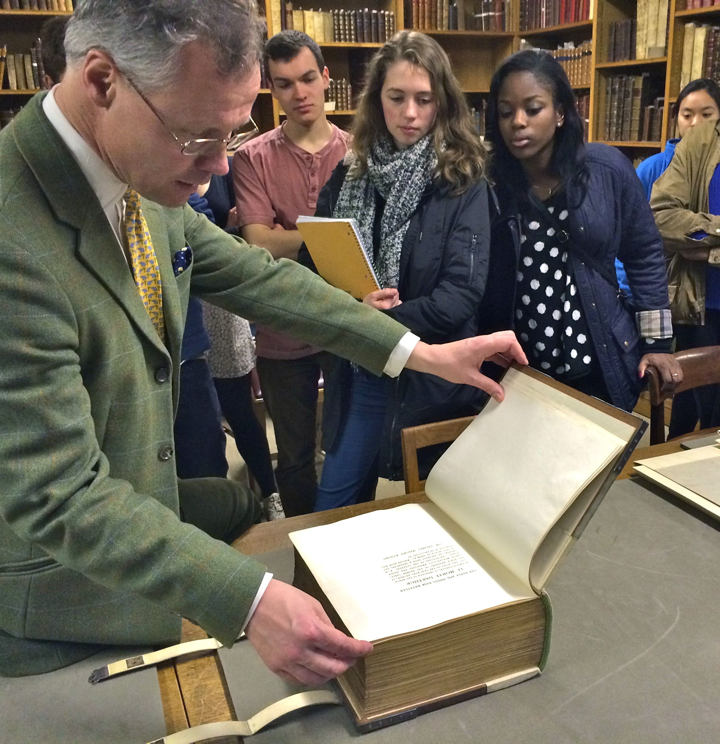 The Oxford group recently visited the Ashmolean Museum Print Room, where Colin Harrison, the Senior Assistant Keeper for Western Art, showed the students a 19th century copy of Le Morte d'Arthur that was illustrated by painters from the Pre-Raphaelite Brotherhood.  (Photo Credit: P. Nilsson)