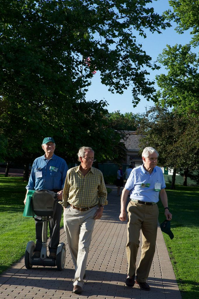 Mike Mayor, Jay Morsman, and Terry Fuller stroll down Heritage Lane at the 2013 Reunion Weekend