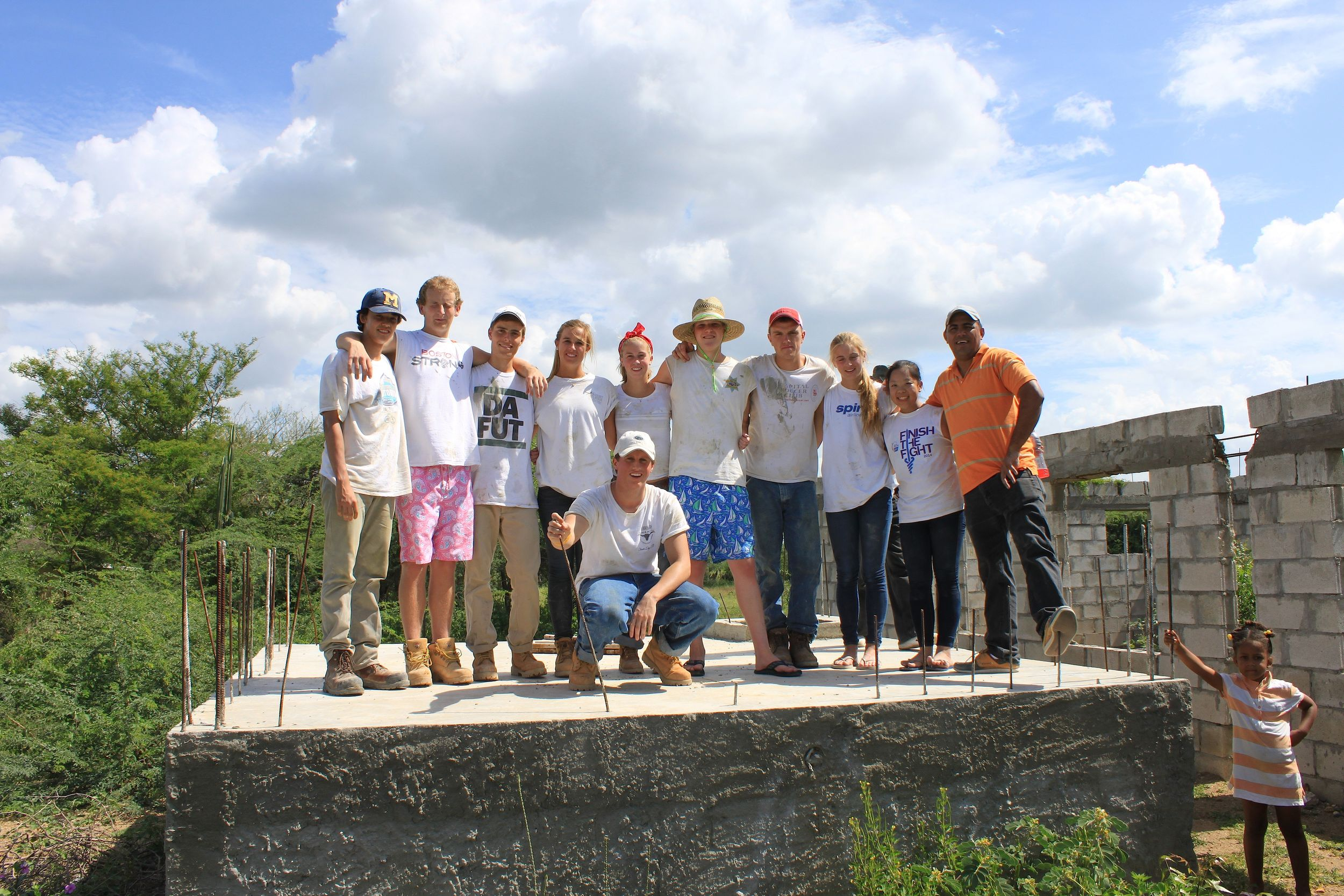 The group at the unfinished water reservoir