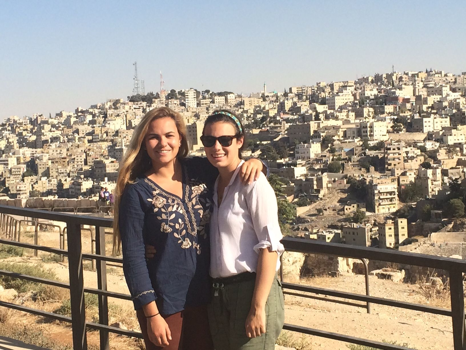 Arianne Evans '16 and Ally Edwards '17 at the Citadel in Amman Photo Credit: David Miller