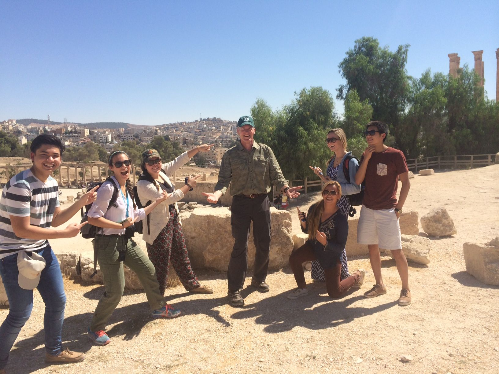 Mr. Finan and the delegates in Jerash  Photo Credit: David Miller