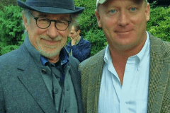 "Director Steven Spielberg with DA alumnus, Eddie Amorosi on set of ""Bridge of Spies"" movie"